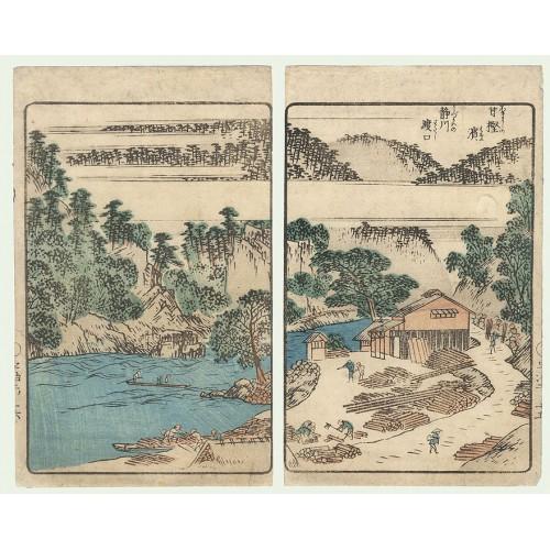 Estampes japonaises Hiroshige Ando Transport de bois le long de la rivière