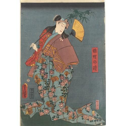 estampe japonaises Kunisada Utagawa Jeune homme à la branche de bambou et à l'éventail