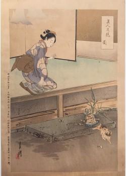 estampes japonaises Ogata Gekko L'orchidée