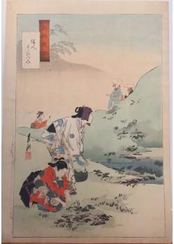 estampes japonaises Ogata Gekko La cueillette des herbes