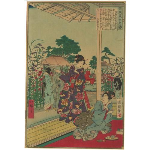 Hiroshige III et Kuniaki II Fleurs d'automne au jardin Hana-yashiki à Mukojima