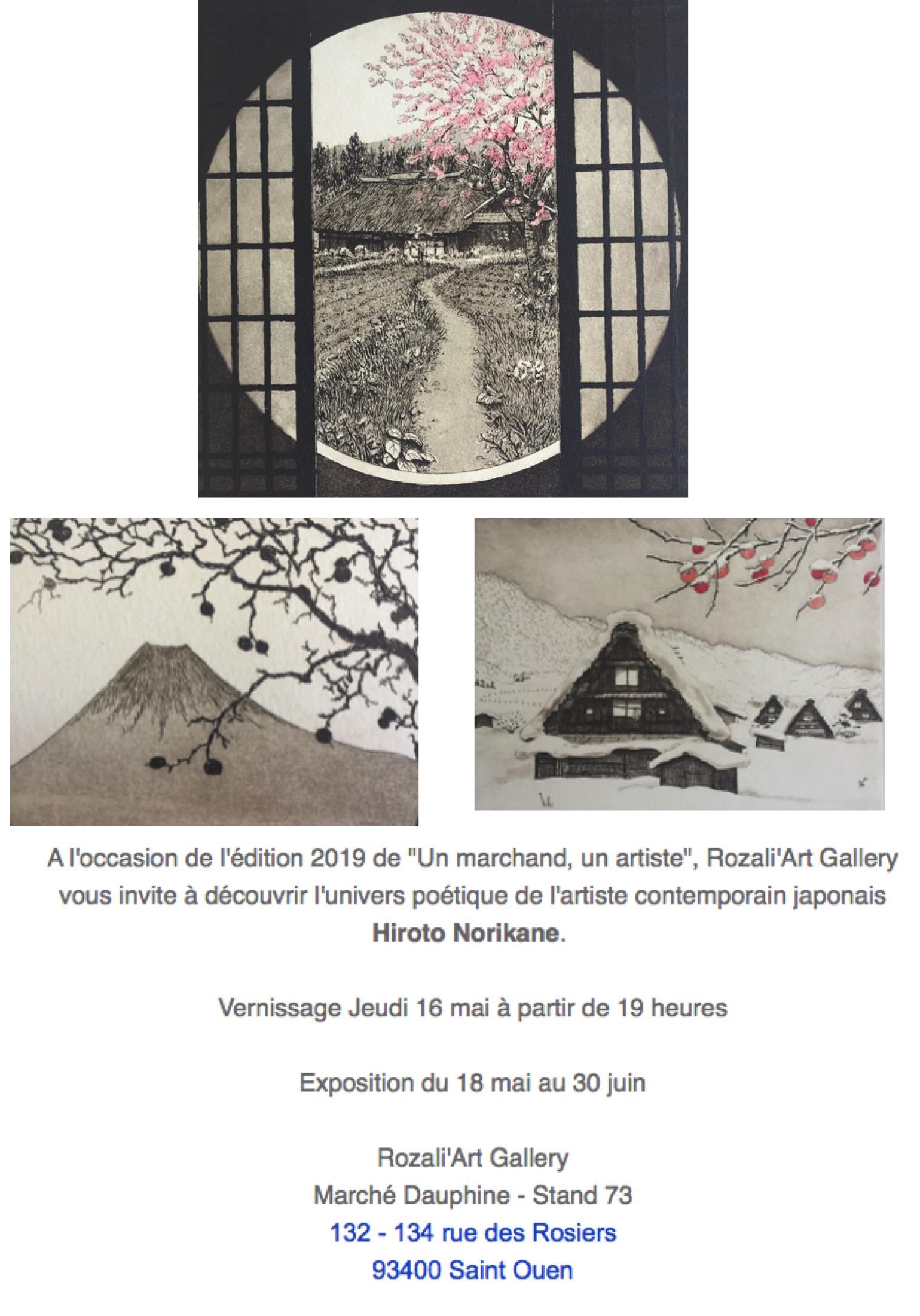 invitation exposition artiste japonais contemporain d'estampes japonaises Hiroto Norikane