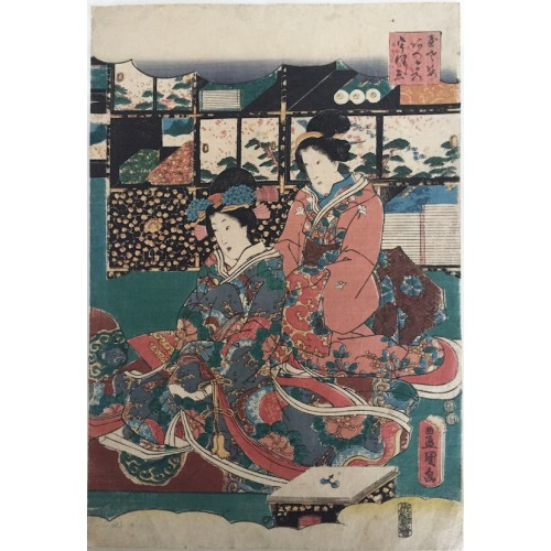 estampes japonaises Kunisada Utagawa de Jeunes beautés en visite