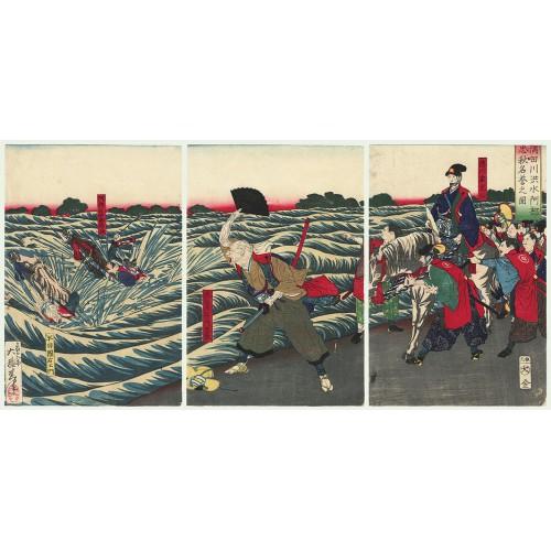 estampes japonaises Abe Tadaaki affronte les inondations de la rivière Sumida