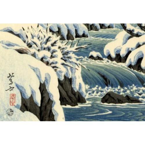 Shin hanga Ito Takashi Les rapides du parc Kunitachi en hiver