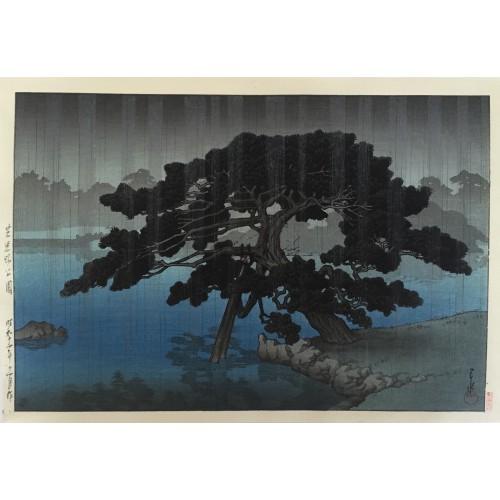 Hasui Kawase Le vieux pin du parc Onshi à Shiba