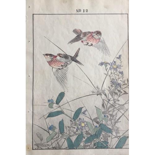 estampes japonaises Imao Keinen oiseaux et papillons