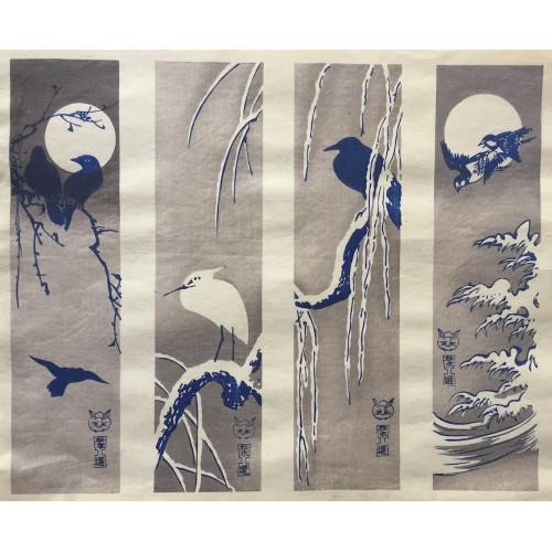 Oiseaux lune et neige