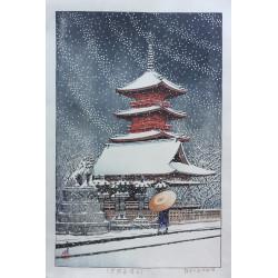 estampe japonaise shin hanga de Hasui Kawase neige au temple Toshogu Ueno