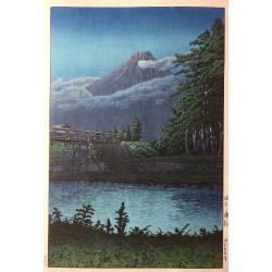 Hasui Kawase le Pont Tagonoura estampe japonaise shin hanga en vente chez Rozali'Art Gallery