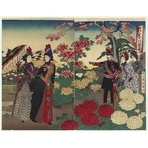 Meiji emperor and Empress viewing Chrysanthemuns