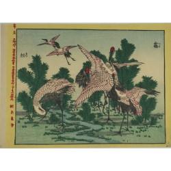 estampe japonaise authentique de grues prenant leur envol