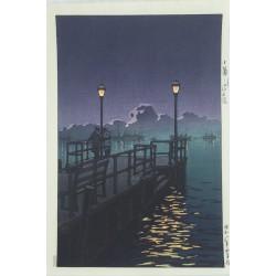 estampe japonaise de Hasui Kawase la jetée à Otaru en vente à Paris chez Rozali'Art Gallery