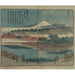 estampe originale japonaise ukikyoe de Hiroshige Ando vue du mont Fuji