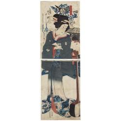 Kunisada II et Kyosai - Jeune beauté au shamisen