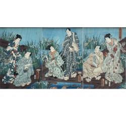 Kunisada Utagawa - Au jardin d'iris