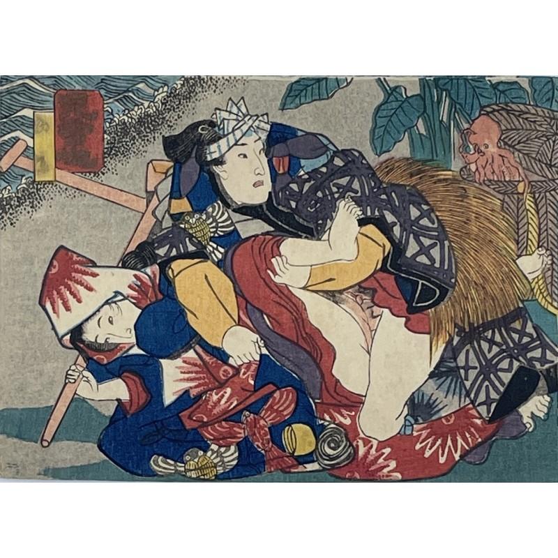 véritable estampe japonaise shunga  de l'époque Edo