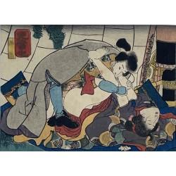 véritable estampe japonaise érotique appelée shunga de l'ère Edo
