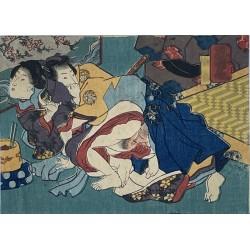 véritable estampe japonaise shunga de l'école d'Utagawa