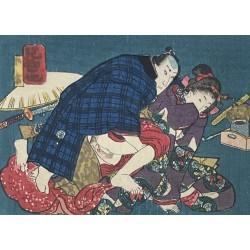 véritable estampe japonaise érotique appelée shunga