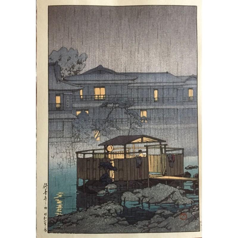 estampe japonaise originale de Hasui Kawase paysage de pluie