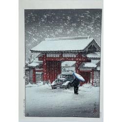 Hasui Kawase - La grande porte de Shiba sous la neige