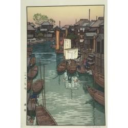 estampe japonaise authentique paysage marin de Toshi Yoshida
