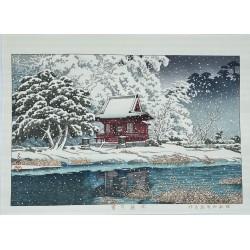 Hasui Kawase véritable estampe japonaise Shin Hanga neige à l'entrée du sanctuaire Inokashira benten