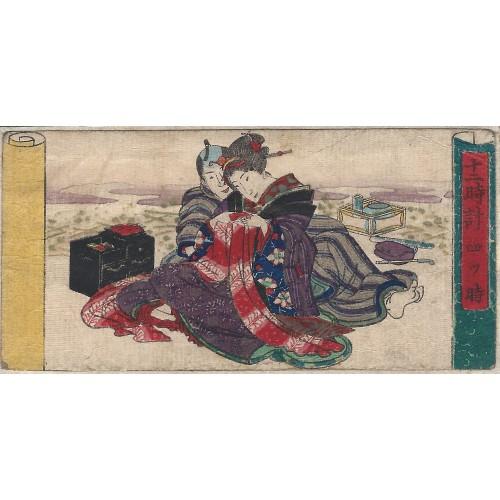 Les préliminaires - estampe japonaise érotique shunga