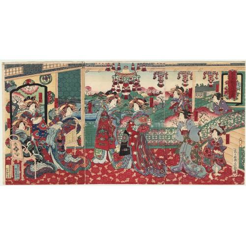 Fusatane Utagawa - Courtisanes au salon de thé