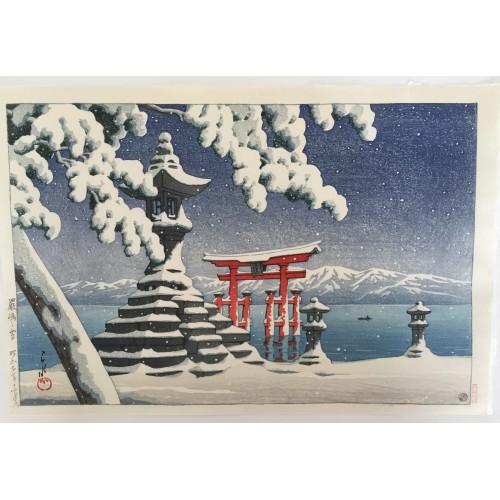 Hasui Kawase - Neige à Itsukushima