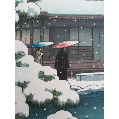 Hasui Kawase - Le temple Ginkakuji sous la neige